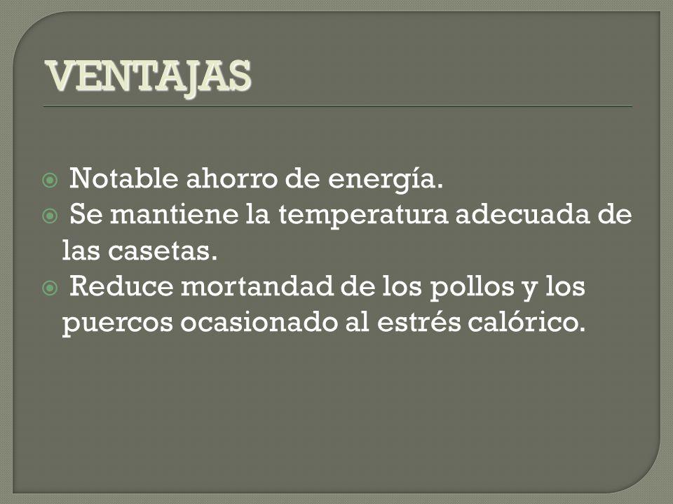 VENTAJAS Notable ahorro de energía.