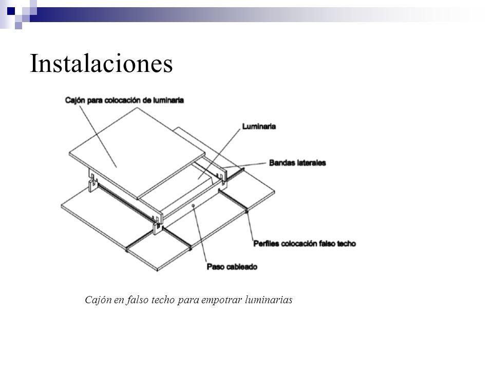 Instalaciones Cajón en falso techo para empotrar luminarias
