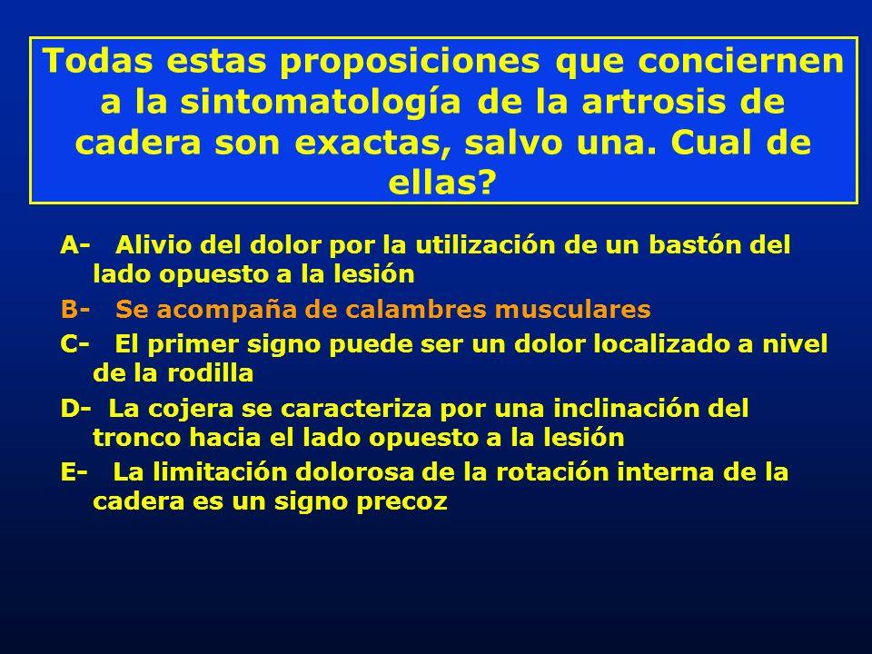 Todas estas proposiciones que conciernen a la sintomatología de la artrosis de cadera son exactas, salvo una. Cual de ellas