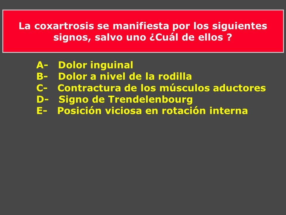 La coxartrosis se manifiesta por los siguientes signos, salvo uno ¿Cuál de ellos