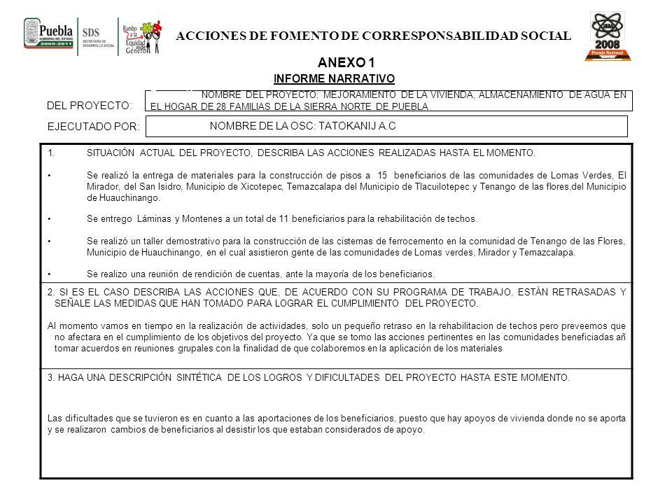 ACCIONES DE FOMENTO DE CORRESPONSABILIDAD SOCIAL
