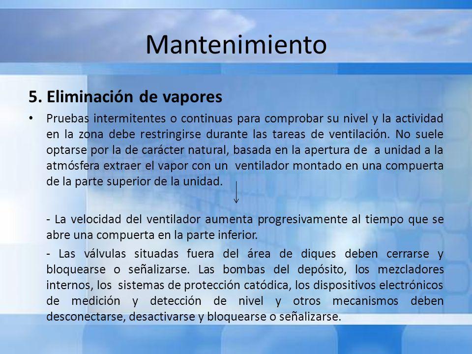 Mantenimiento 5. Eliminación de vapores