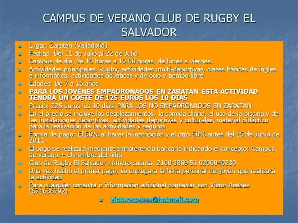 CAMPUS DE VERANO CLUB DE RUGBY EL SALVADOR