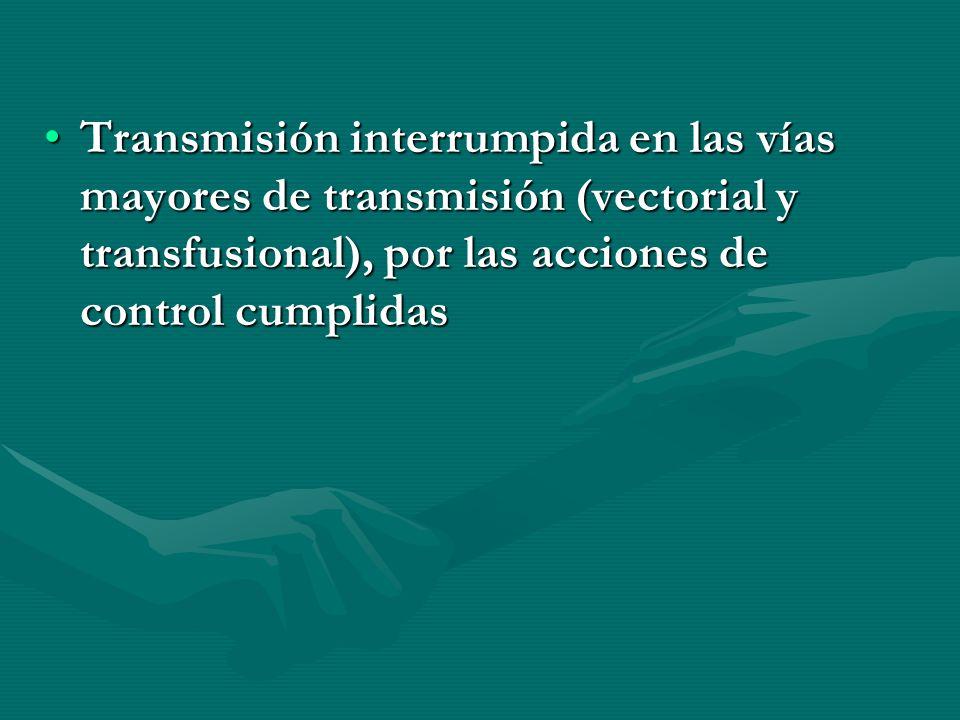 Transmisión interrumpida en las vías mayores de transmisión (vectorial y transfusional), por las acciones de control cumplidas