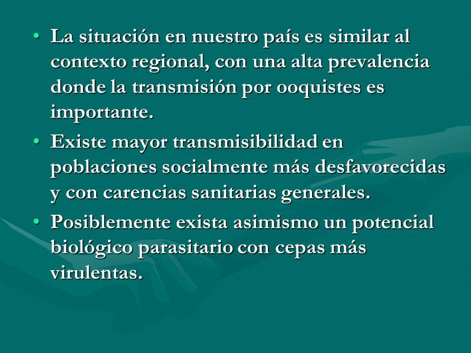 La situación en nuestro país es similar al contexto regional, con una alta prevalencia donde la transmisión por ooquistes es importante.