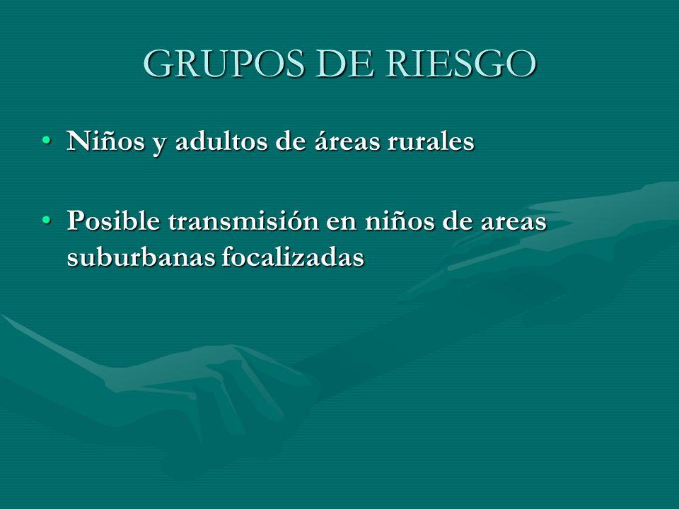 GRUPOS DE RIESGO Niños y adultos de áreas rurales