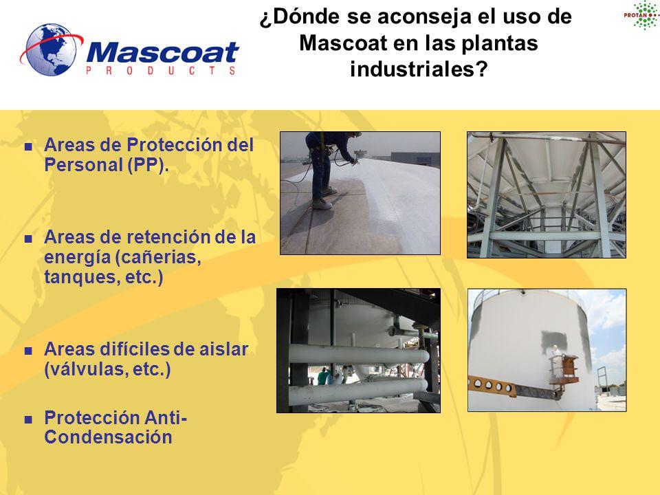 ¿Dónde se aconseja el uso de Mascoat en las plantas industriales