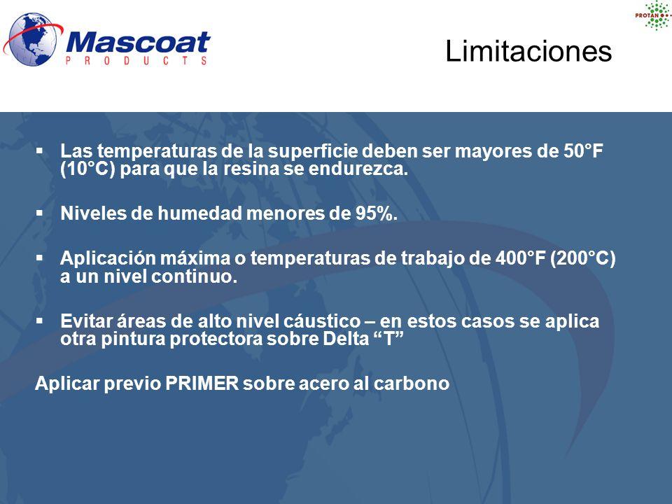 Limitaciones Las temperaturas de la superficie deben ser mayores de 50°F (10°C) para que la resina se endurezca.
