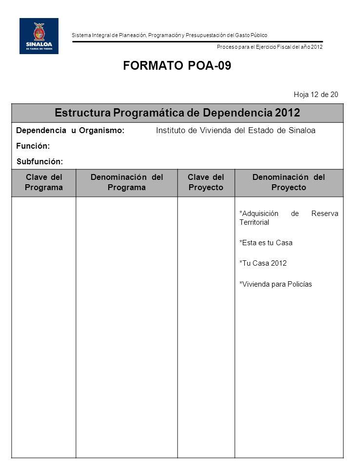 FORMATO POA-09 Estructura Programática de Dependencia 2012