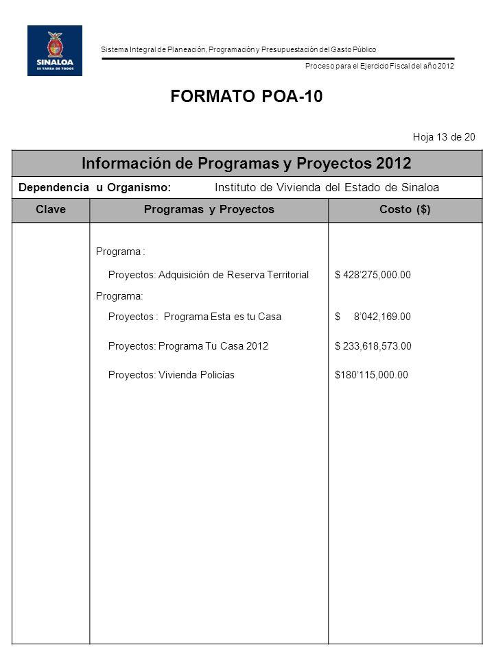 Información de Programas y Proyectos 2012