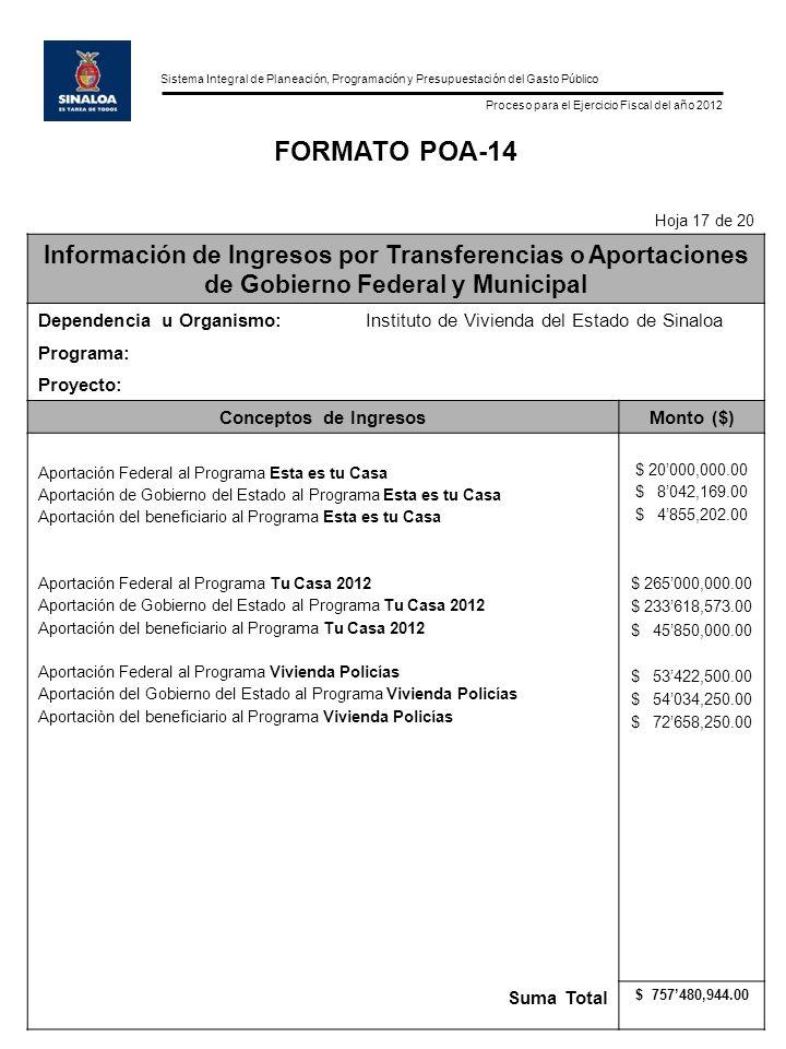 FORMATO POA-14 Hoja 17 de 20. Información de Ingresos por Transferencias o Aportaciones de Gobierno Federal y Municipal.