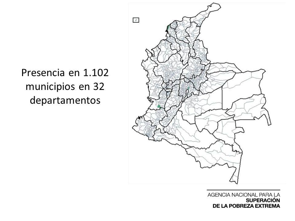 Presencia en 1.102 municipios en 32 departamentos