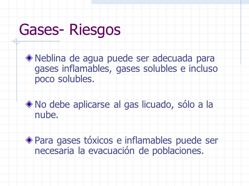 Gases- Riesgos Neblina de agua puede ser adecuada para gases inflamables, gases solubles e incluso poco solubles.