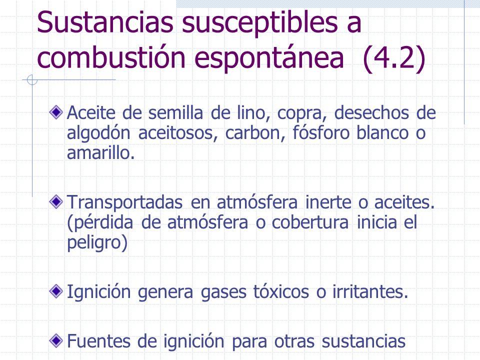 Sustancias susceptibles a combustión espontánea (4.2)