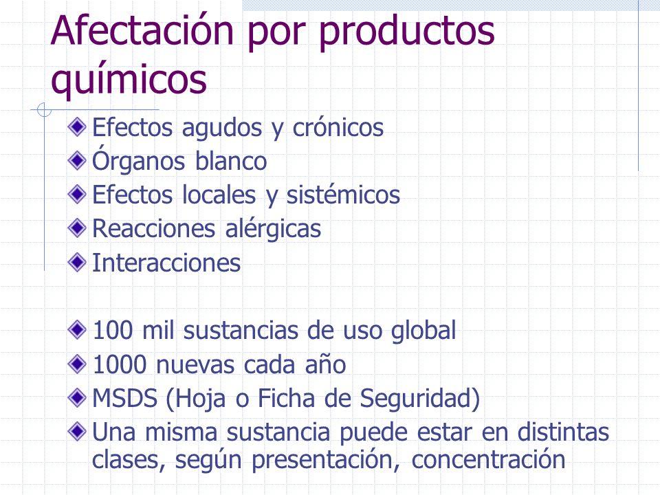 Afectación por productos químicos