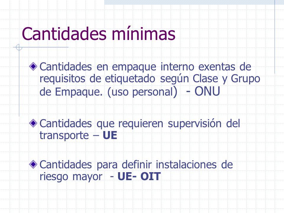 Cantidades mínimas Cantidades en empaque interno exentas de requisitos de etiquetado según Clase y Grupo de Empaque. (uso personal) - ONU.