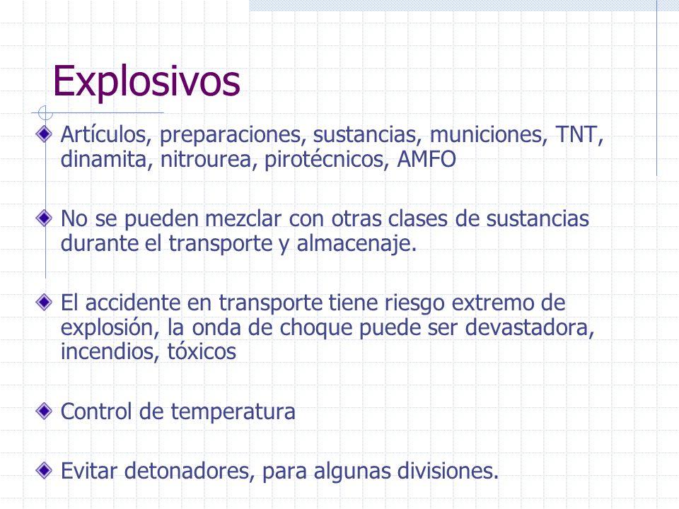 Explosivos Artículos, preparaciones, sustancias, municiones, TNT, dinamita, nitrourea, pirotécnicos, AMFO.