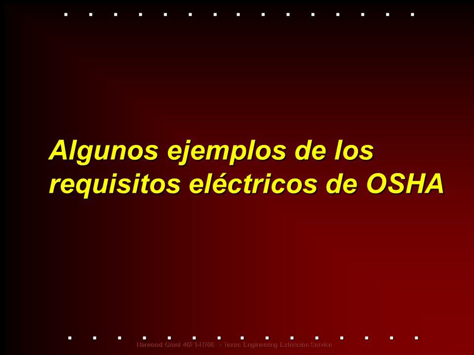 Algunos ejemplos de los requisitos eléctricos de OSHA