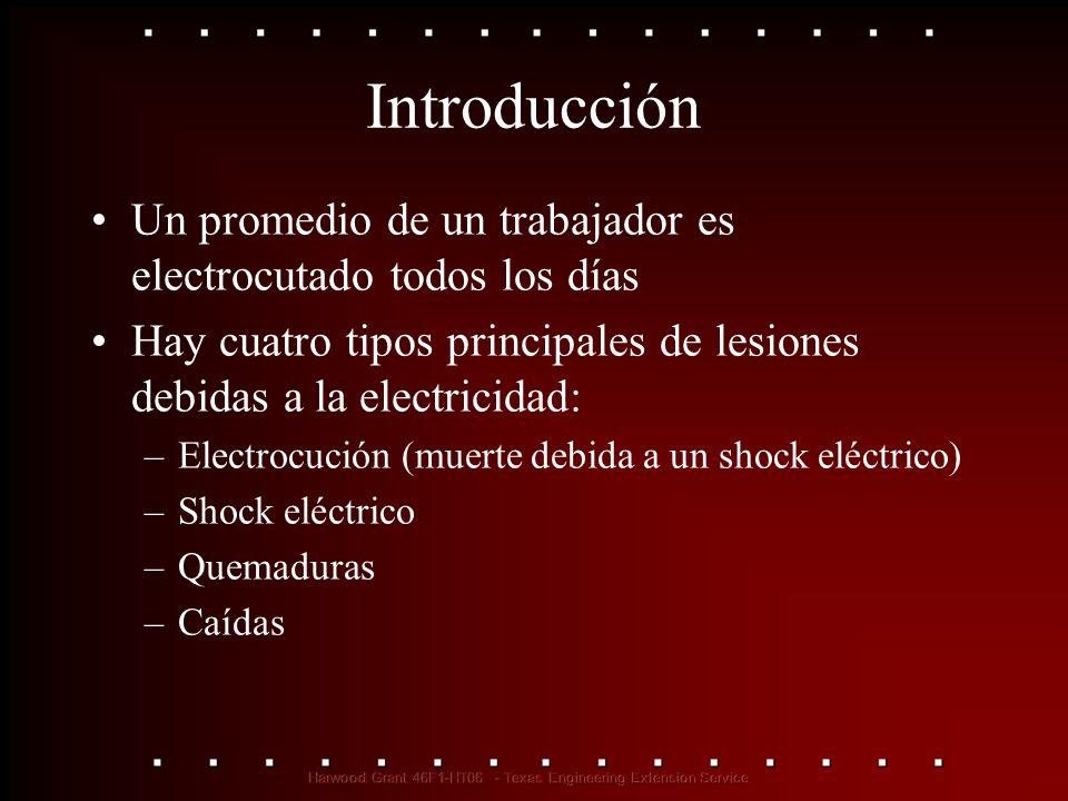 Introducción Un promedio de un trabajador es electrocutado todos los días. Hay cuatro tipos principales de lesiones debidas a la electricidad:
