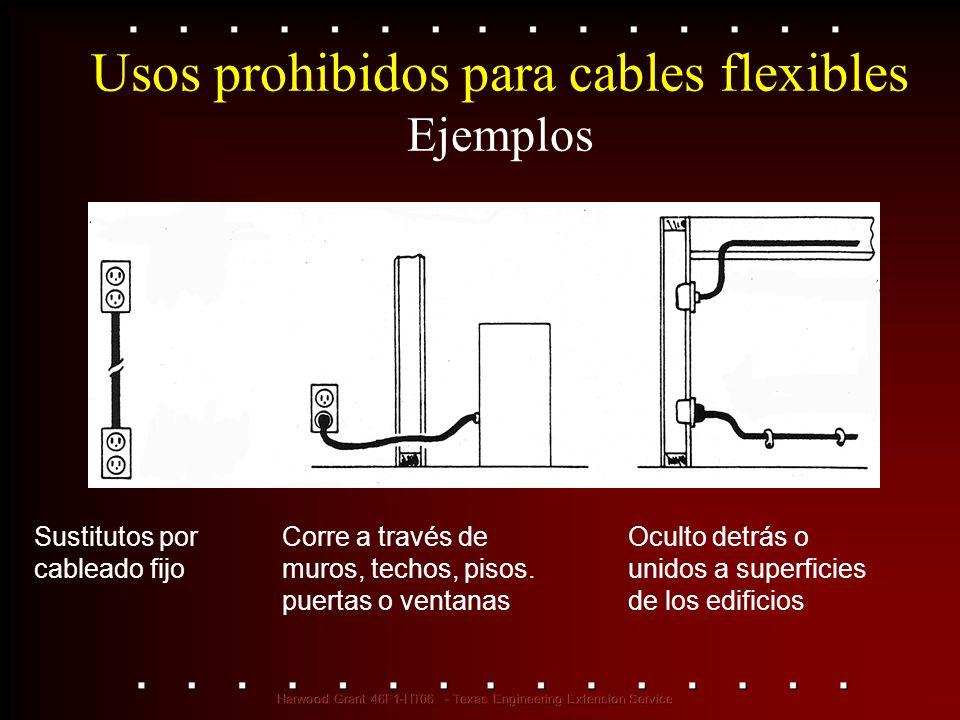 Usos prohibidos para cables flexibles Ejemplos