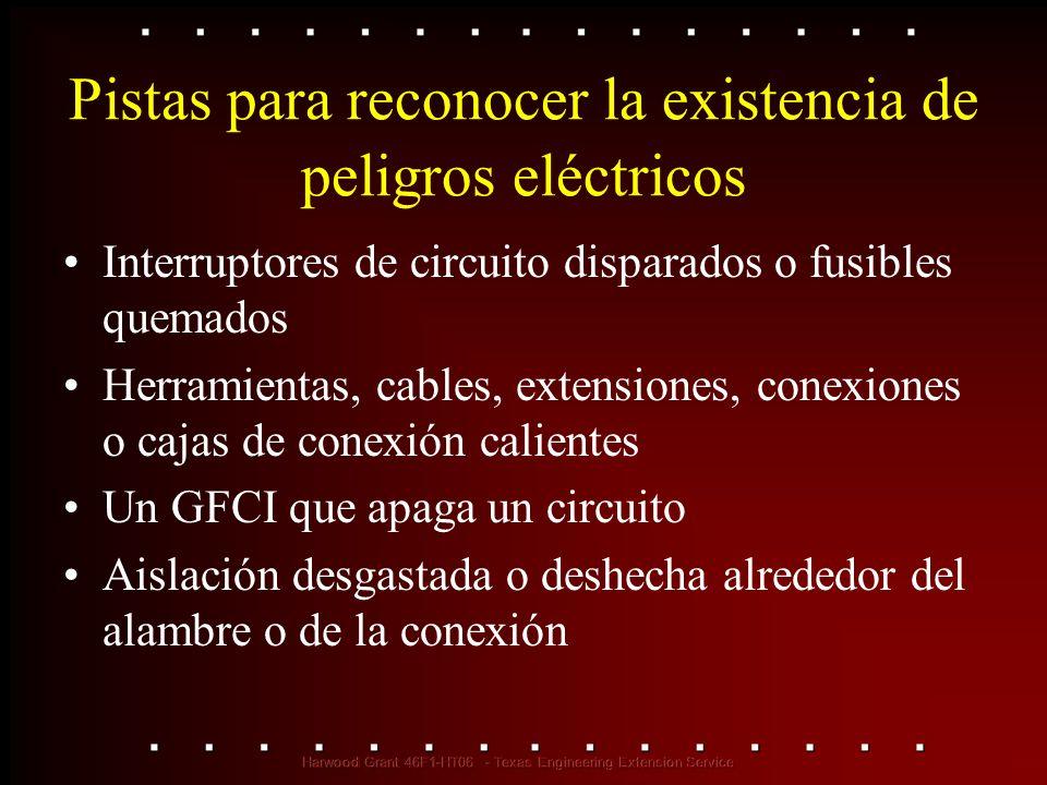 Pistas para reconocer la existencia de peligros eléctricos