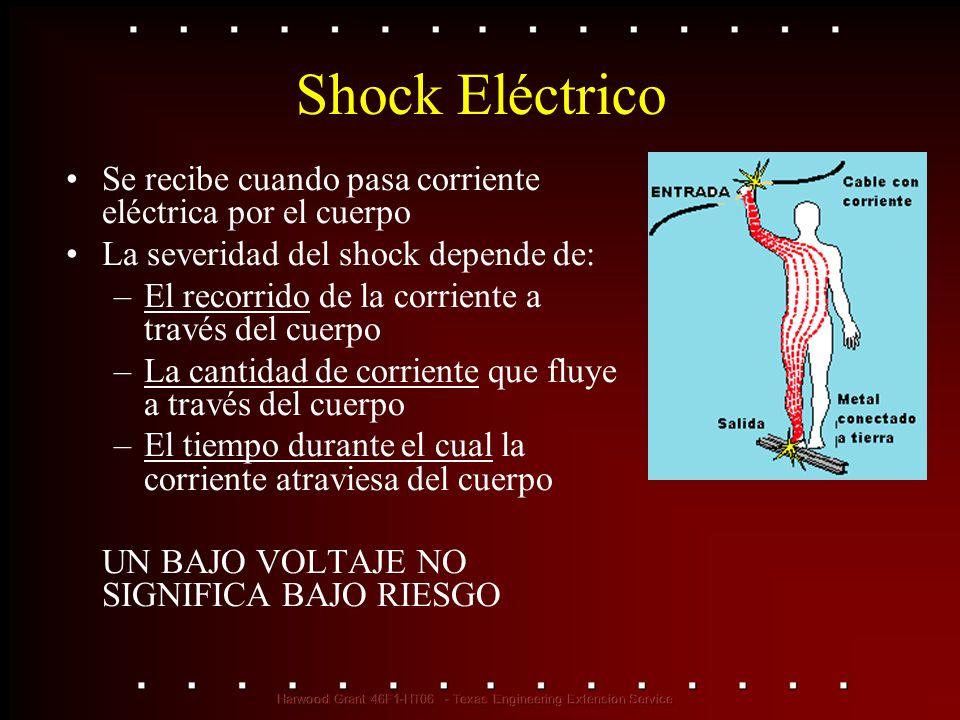 Shock Eléctrico Se recibe cuando pasa corriente eléctrica por el cuerpo. La severidad del shock depende de: