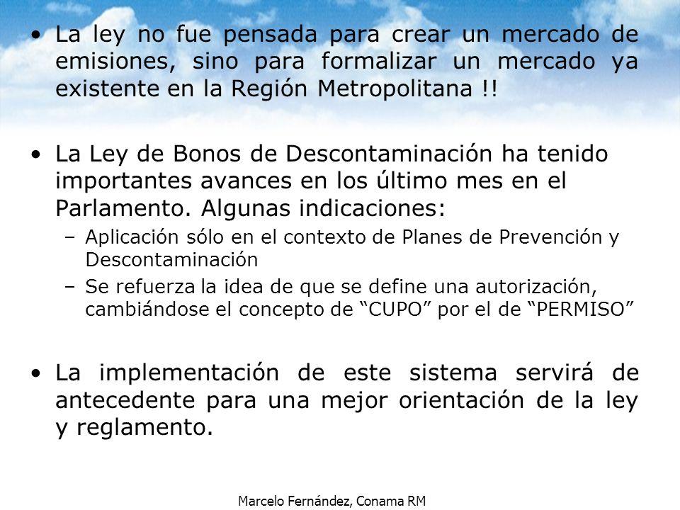 La ley no fue pensada para crear un mercado de emisiones, sino para formalizar un mercado ya existente en la Región Metropolitana !!