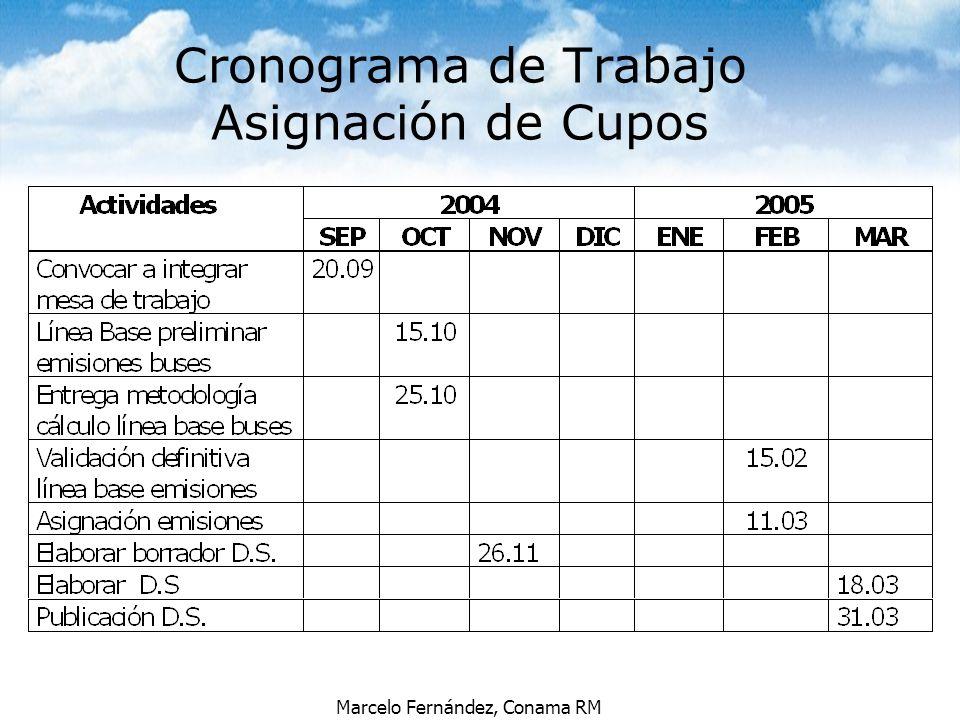 Cronograma de Trabajo Asignación de Cupos