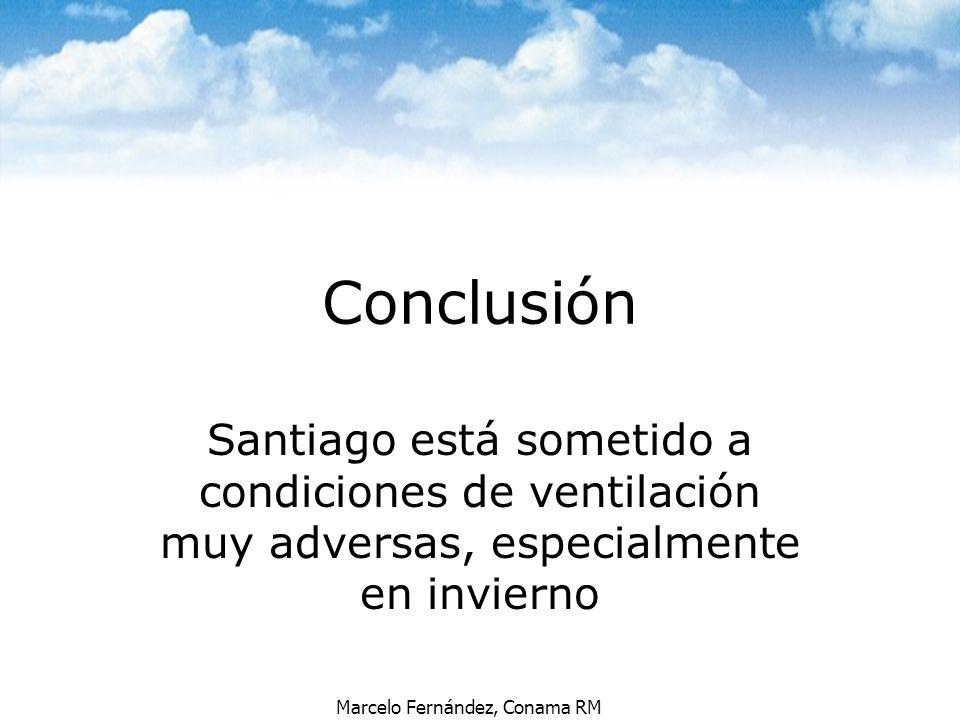 Conclusión Santiago está sometido a condiciones de ventilación muy adversas, especialmente en invierno.
