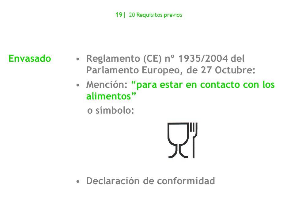 Reglamento (CE) nº 1935/2004 del Parlamento Europeo, de 27 Octubre: