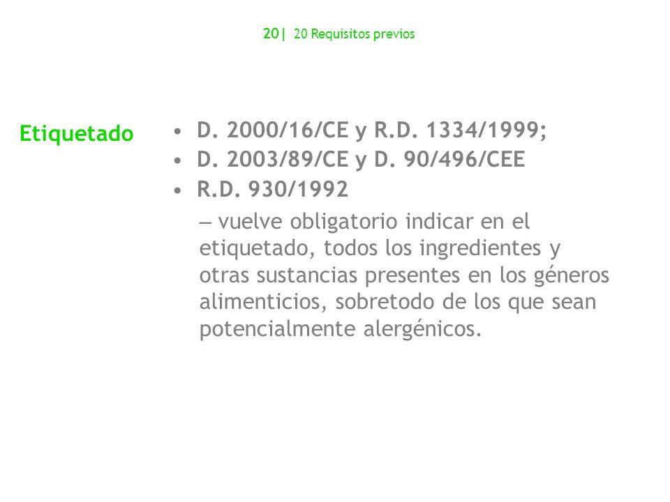 Etiquetado D. 2000/16/CE y R.D. 1334/1999;