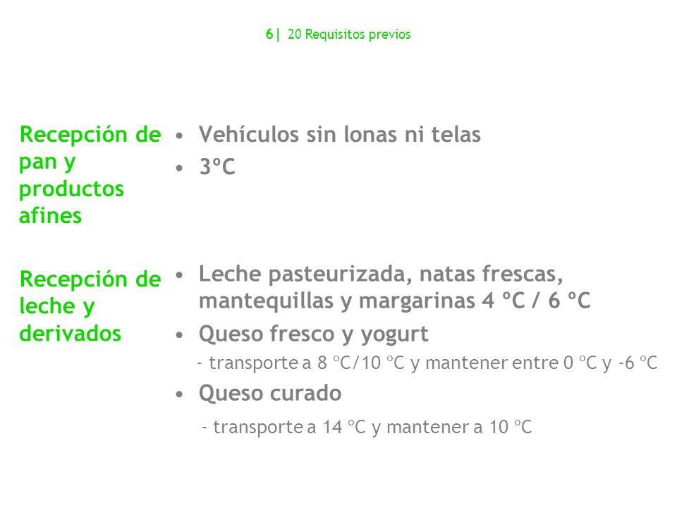 Recepción de pan y productos afines Vehículos sin lonas ni telas 3ºC