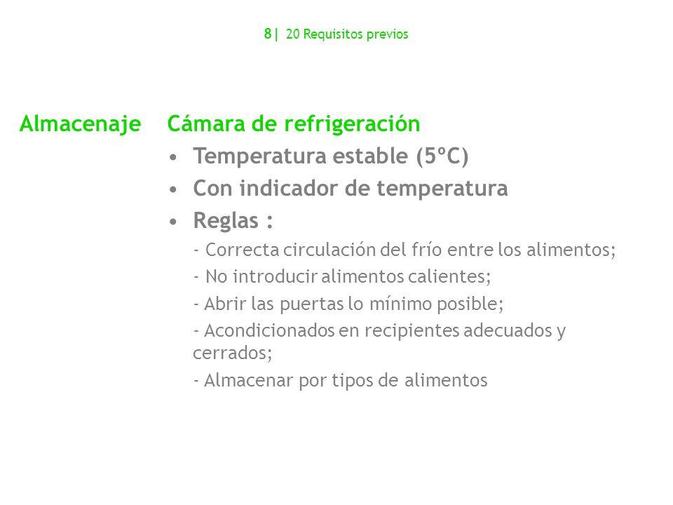 Cámara de refrigeración Temperatura estable (5ºC)