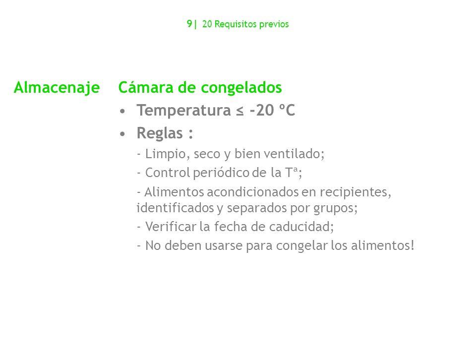 Almacenaje Cámara de congelados Temperatura ≤ -20 ºC Reglas :