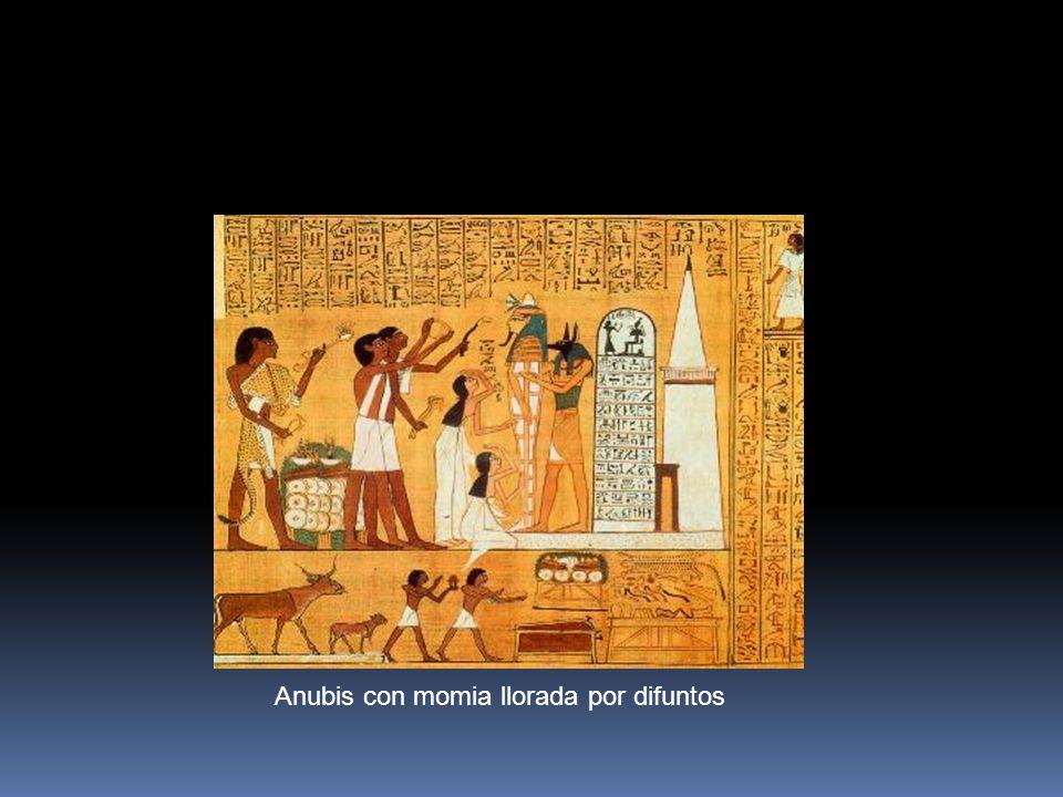 Anubis con momia llorada por difuntos