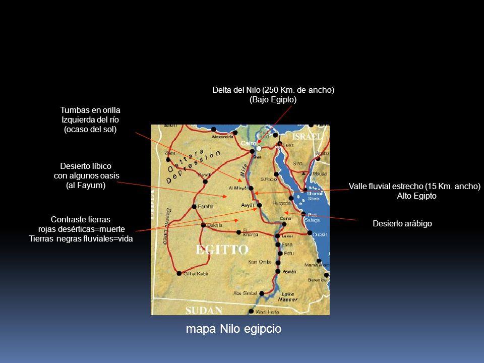 mapa Nilo egipcio Delta del Nilo (250 Km. de ancho) (Bajo Egipto)