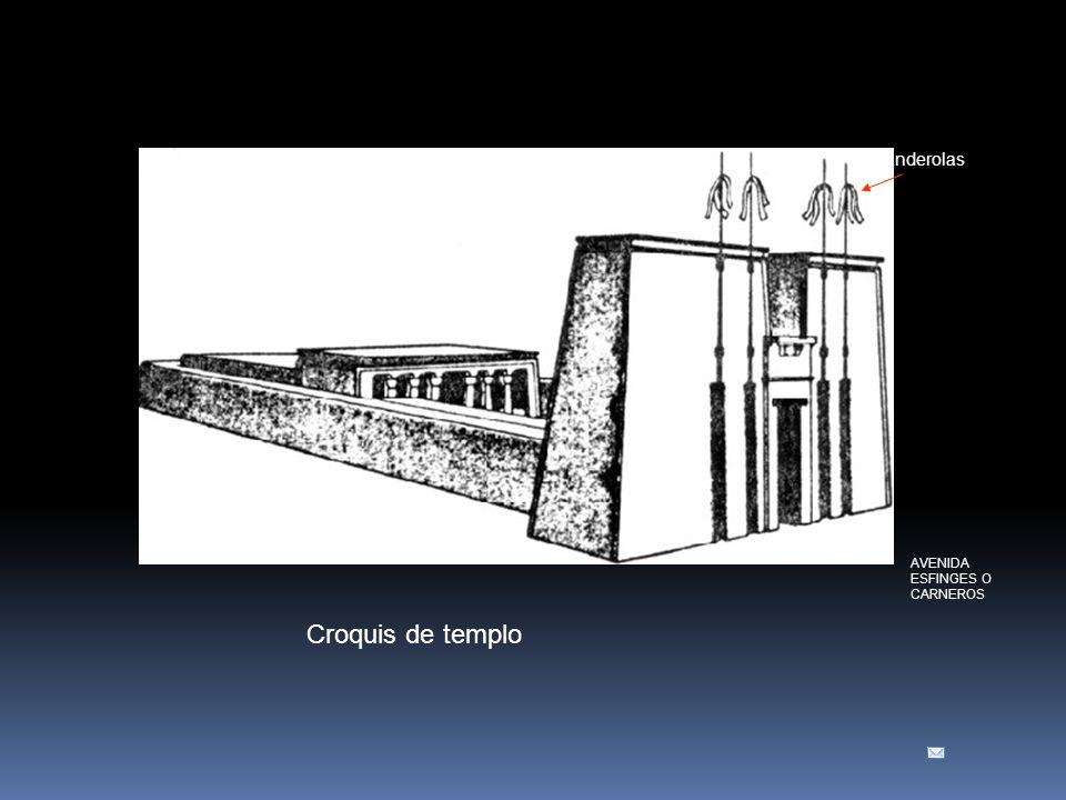 Croquis de templo banderolas PILONOS SALA DE LA BARCA SALA HIPETRA