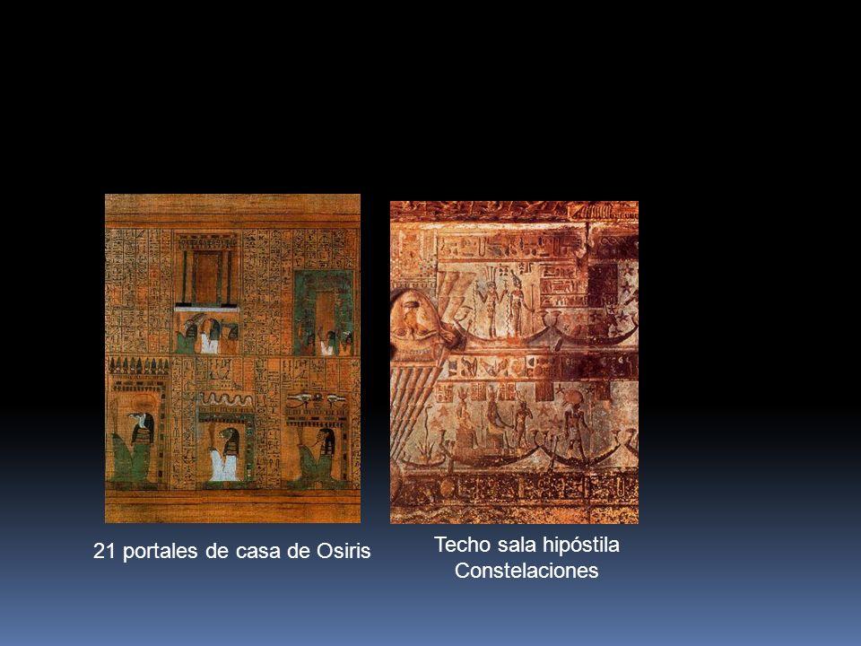 Techo sala hipóstila Constelaciones 21 portales de casa de Osiris
