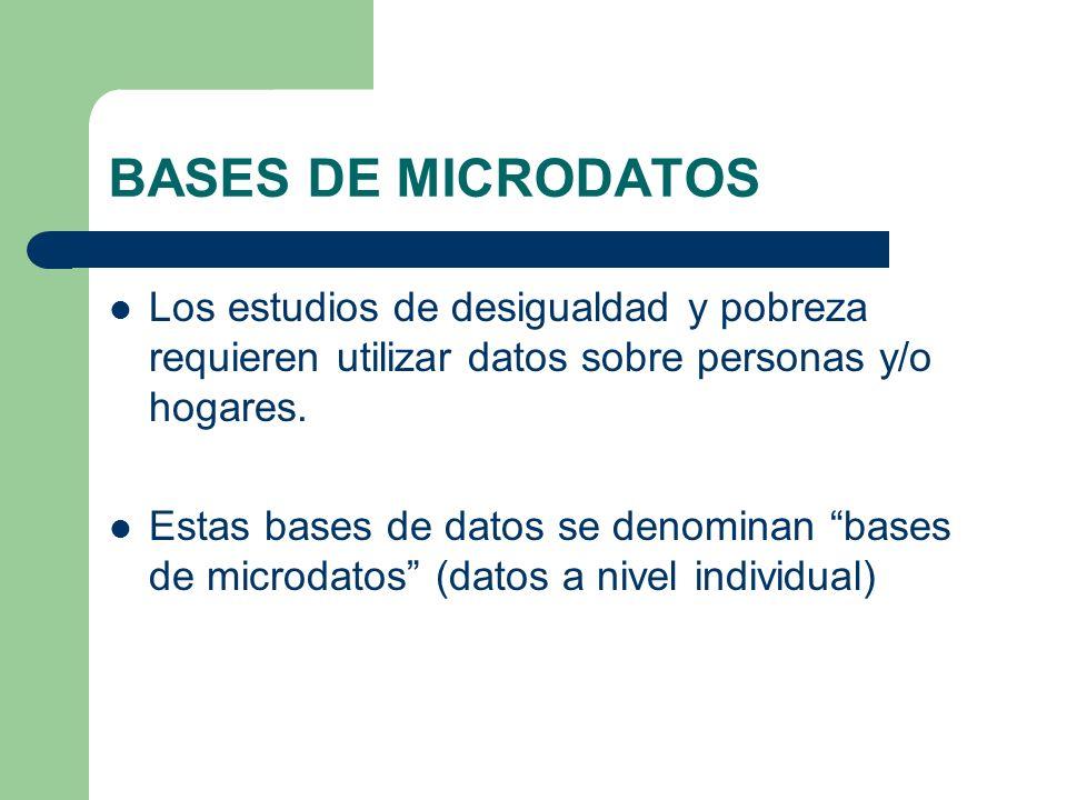 BASES DE MICRODATOS Los estudios de desigualdad y pobreza requieren utilizar datos sobre personas y/o hogares.