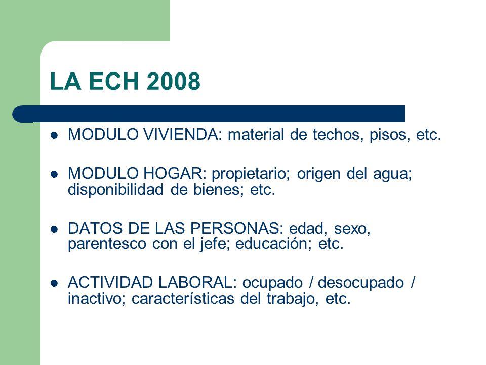 LA ECH 2008 MODULO VIVIENDA: material de techos, pisos, etc.