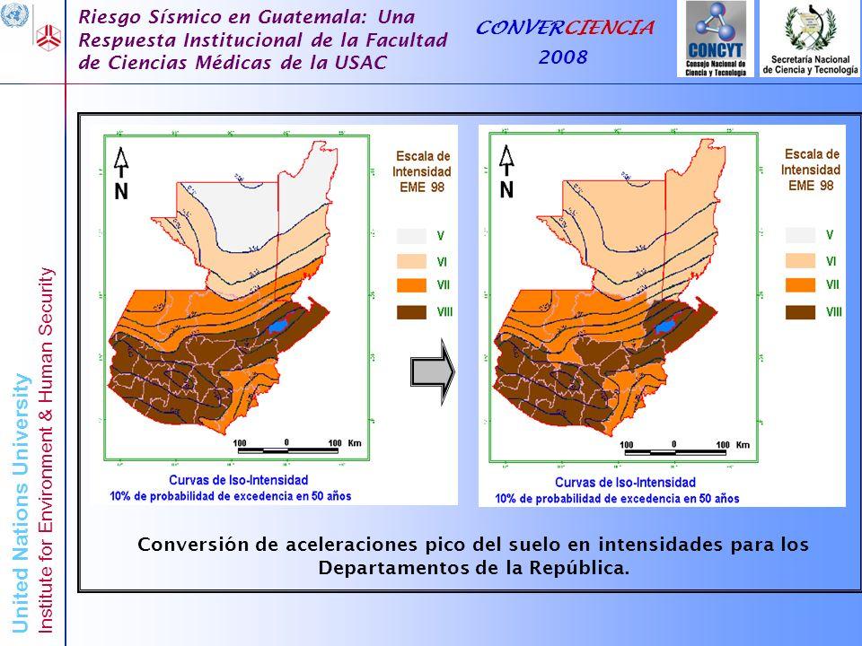 Conversión de aceleraciones pico del suelo en intensidades para los Departamentos de la República.
