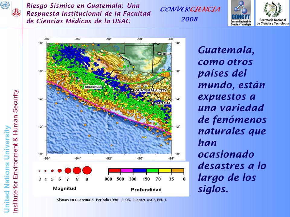 Sismos en Guatemala. Período 1990 – 2006. Fuente: USGS, EEUU.