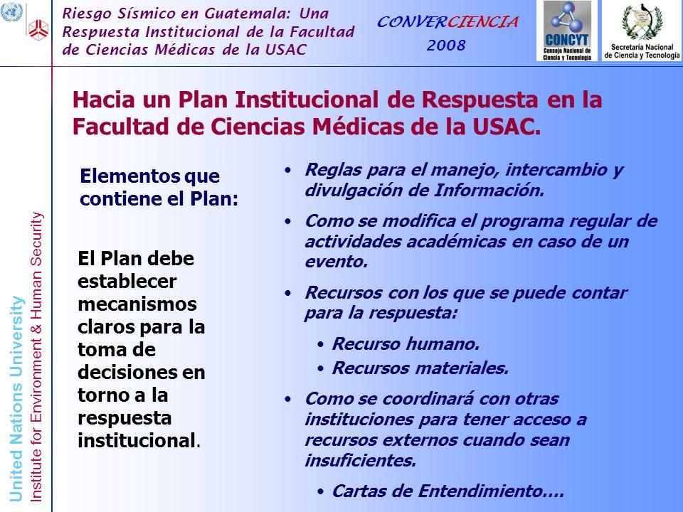 Hacia un Plan Institucional de Respuesta en la Facultad de Ciencias Médicas de la USAC.
