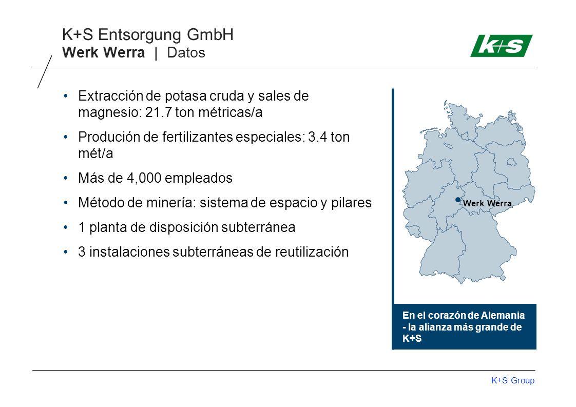 Werk Werra | Datos Extracción de potasa cruda y sales de magnesio: 21.7 ton métricas/a. Produción de fertilizantes especiales: 3.4 ton mét/a.