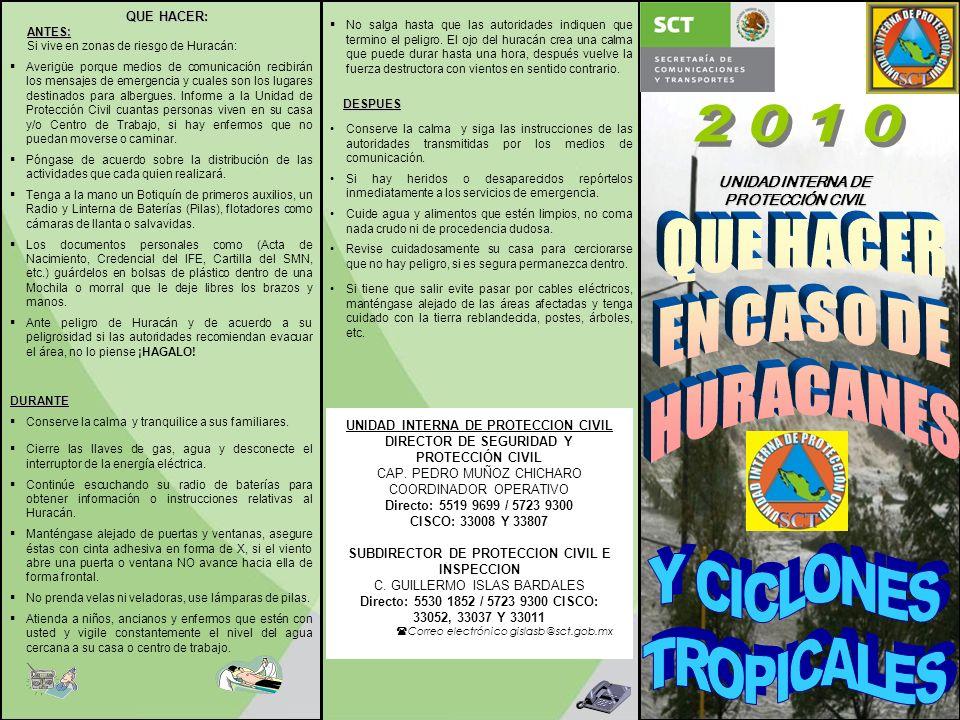 2010 QUE HACER EN CASO DE HURACANES Y CICLONES TROPICALES QUE HACER: