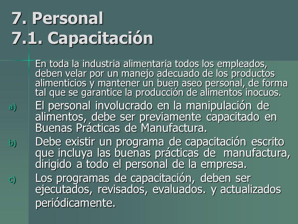 7. Personal 7.1. Capacitación