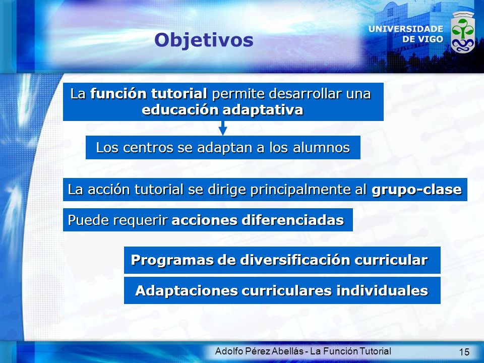 Objetivos La función tutorial permite desarrollar una