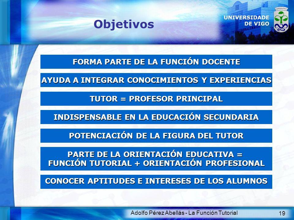 Objetivos FORMA PARTE DE LA FUNCIÓN DOCENTE