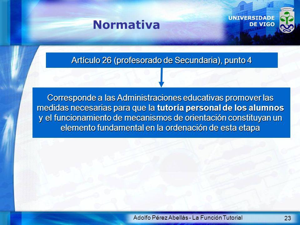 Normativa Artículo 26 (profesorado de Secundaria), punto 4