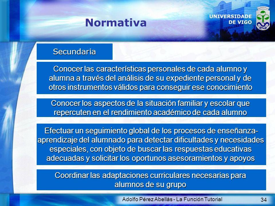 Normativa Secundaria. Conocer las características personales de cada alumno y. alumna a través del análisis de su expediente personal y de.